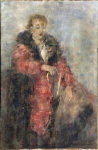 """Russischer Realist Impressionist Öl Leinwand """"Frau mit Regenschirm"""" 120 x 80 cm"""