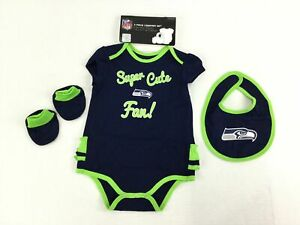 NFL Seattle Seahawks Baby 3 Pc Creeper Set 24 Month Girl Navy Bib Booties 1165