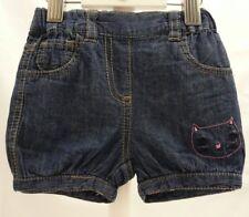KITCHOUN short façon jean bleu  motif chat bébé fille 3 mois