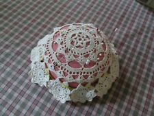 "Vintage Antique Crochet Pin Cushion Hat Pin Holder Pink Cream Large 3 1/4"" Tall"