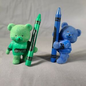 Hallmark Merry Miniatures BLUE & GREEN Crayola Flocked Bear Figures w/ Crayon