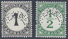 BARBADOS 1934 POSTAGE DUE PERF IN SPECIMEN SG D1 D2