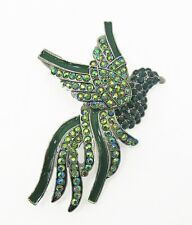 Enamel Brooch Pin - New Large Green Bird Crystal and