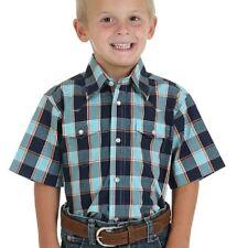 WRANGLER Boys WESTERN Shirt - S -100% Cotton Long Sleeve -Blue Plaid - BWR319M