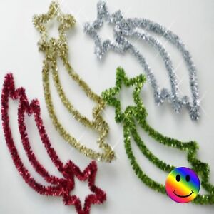CHRISTMAS SHOOTING STAR DECORATION TINSEL 8 COLOURS 15 INCH XMAS ORNAMENT