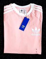 Adidas Originals Mens Trefoil California Tees Crew Neck T Shirt Pink White NEW