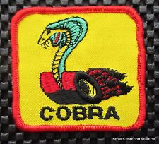 "COBRA EMBROIDERED SEW ON PATCH FORD CAR AUTO ADVERTISING UNIFORM 2 7/8"" X 2 1/2"""