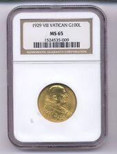 VATICAN CITY 1929 100 LIRE GOLD COIN, GEM UNCIRCULATED, CERTIFIED NGC MS-65