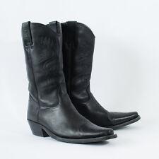 True Vintage Black Real Leather Cowboy Boots Festival Men's UK 10 EU 44 US 11