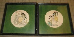 """2 Vintage LITTLE CHILDREN 8.5"""" x 8.5"""" Framed Prints - Radio Picture Frame Co."""