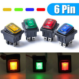 On-Off-On 6Pin 12V Car LED Light Rocker Toggle Switch Latching Waterproof Parts