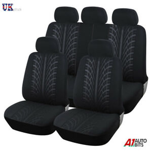 For Toyota Prius 2012> Black Fabric Full Car Seat Covers Set