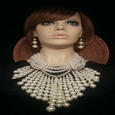 Massive Elegant Vintage Style Faux Pearl Runway Couture Statement Necklace Set