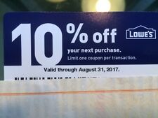 Lowe's 10% Off One -Time Purchase Promo Card ! ( Up to $500 Off)