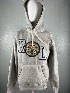NWT $148 Polo Ralph Lauren Tiger Patch Mens Fleece Hoodie Grey