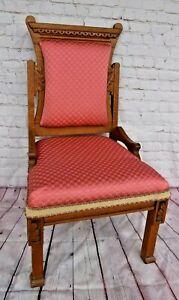 Victorian Eastlake Slipper Chair Tiger Oak