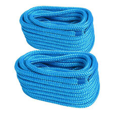 Pair of 5/8 Inch 50Feet Double Braid Nylon Dockline Mooring Rope Dock Line(Blue)