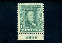 USAstamps Unused VF US 1902 Franklin Plate # Single Scott 300 OG MLH