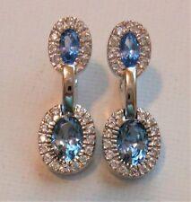 14k White Gold Natural Blue Zircon Topaz VS-1 Diamond Drop Huggie Earrings 3.90