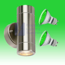 GREEN LED OUTDOOR UP & DOWN WALL LIGHT PORCH GARDEN GU10 IP44 STAINLESS STEEL
