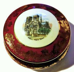 Vintage Limoges Notre Dame Porcelain Ceramic Gold Red Box France 1960 Gift Rare