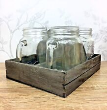 Set of 4 Vintage Shabby Chic Traditional Glass Mason Jars Mugs & Wood Tray 61214