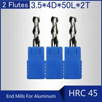HRC45 2 Flutes 3.5MM Solid Carbide End Mills For Aluminum L 50MM