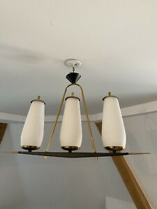 Ancienne Lampe Suspension Design Stilnovo Laiton An 50 Vintage Old Lamp / Lunel