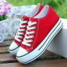 Fashion Womens Canvas Hidden Wedge Heel Athletic Lace Up Jogging Sneakers Shoes