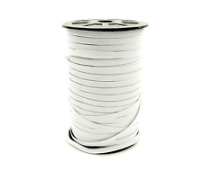1/4 0.25 Quarter Inch 6mm Braided Flat Elastic - White, 5 yards