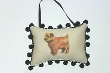 "Norfolk Terrier Plush Door Or Wall Pillow w/Black Chenille Trim, 6"" x 4"",U.S.A."