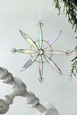"J Devlin Stained Glass Art Iridescent 6"" Pinwheel Snowflake Ornament Suncatcher"