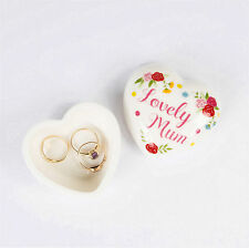 Heart Shaped Jewellery Box Ring Earrings Storage White Ceramic Lovely Mum Gift