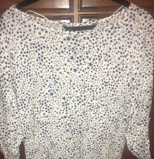 Zara Three Quarter top White With Blue Stars Size Small