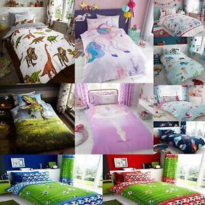 Kids Disney Football Dinosaur Unicorn Duvet Quilt Cover Matching Sheet Curtains
