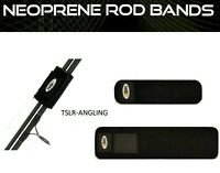2  x FISHING TACKLE ROD BANDS - NEOPRENE  WITH VELCRO STRAPS CARP COARSE SEA FLY