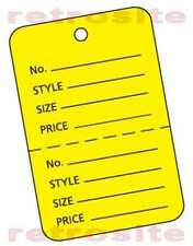 200 Large Price Hang Tags Witho Strings Unstrung Yellow 2 Part Perforated