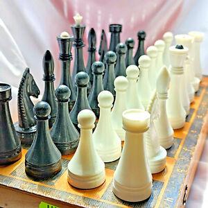 Big Chess Vintage USSR Soviet Set Plastic Russian Style Antique Old Rare
