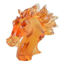 Liuli Glass Crystal Horse Head Statue Paperweights Unique Collectible Charm Gift