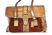COACH :: Metallic Brown C Signature Carryall Tote Leather Handbag Purse Camel