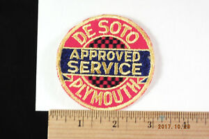 """Vintage DeSoto Plymouth Motors  Approved Service Patch 3"""" Sew-on"""