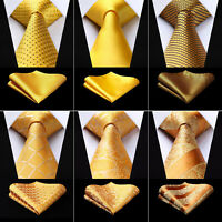 Men's Ties Gold Yellow Paisley Check Necktie Handkerchief Set Party  Classic Tie
