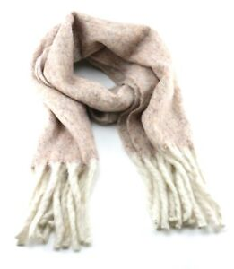 Cream speckled blanket scarf long with tassels speckle effect