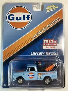 JOHNNY LIGHTNING 1:64 MIJO Exclusives '65 Chevy Pickup Tow Truck Gulf Racing HTF