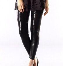GRACIA Womens BLACK SEQUIN PANTS Leggings Pull Up Sz.M