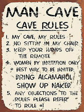 retro metal signs - Man Cave Rules (gift, games room, man cave, garage, shed)