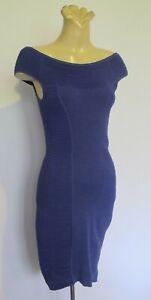 DRESS Royal blue stretch knit Bodycon Off shoulder Events Sz S Cocktail Party
