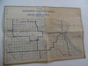 c.1930 Atchison County Kansas Road System Map Vintage Original