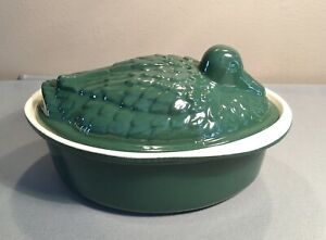 Duck Oval Dutch Oven Casserole Roaster Cast Iron Green Le Creuset or Chasseur