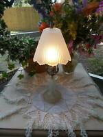 "antique ART DECO BOUDOIR TABLE LAMP lamp w/pleated glass shade 13 3/4"" tall"